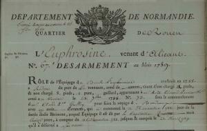 Rôle de désarmenent Euphrosine en 1789 à Rouen (source : AD 76 - 7P6_11 - vue 201)