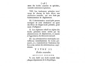 Loi du 3 brumaire an IV - Titre 2 concenrant la création des écoles centrales