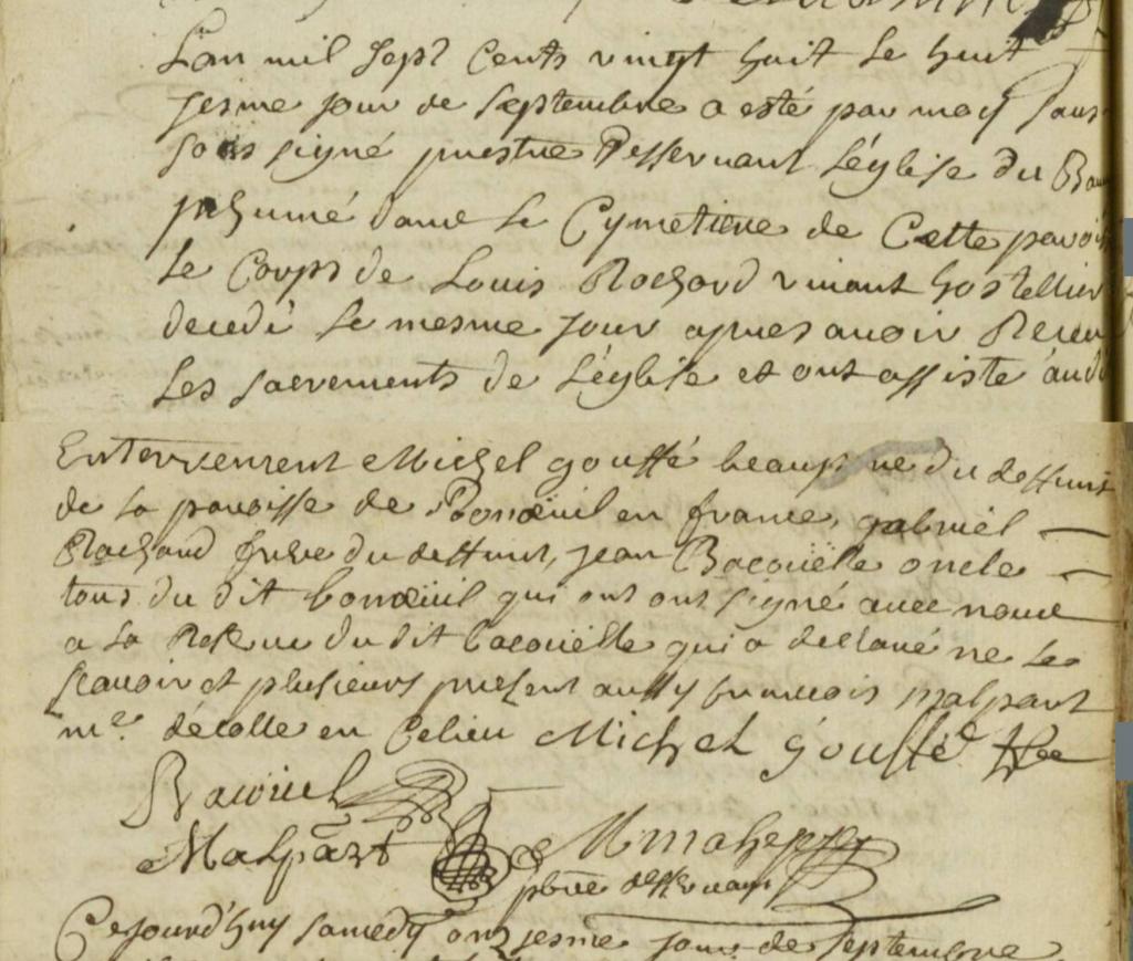 Acte de décès de Louis Rochard le 08-09-1728 au Bourget